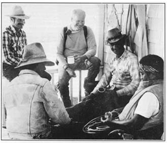 Shooting the breeze in a laid-back moment at Kahua:  (left to right, back) Pono von Holt, Monty Richards, Gilbert Perez, (left to right, front) Kimo Ho'opai and Harold Kailiawa.